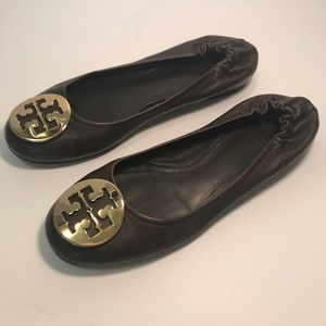 Tory Burch Dark Brown Reva Flats Gold Hardware 7M